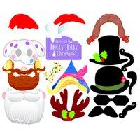 düğün fotoğraf kulübesi pabucu tabelaları toptan satış-17 adet Noel Partisi için Photo Booth Dikmeler Yaratıcı Mutlu Noel Poz Seti Kit Parti Düğün Dekorasyon