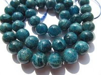 Wholesale Gemstone Connector Beads - high quality 4-12mm full strand Natural Apatite Gemstone Round Ball Blue Loose Bead