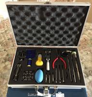 herramientas para relojes al por mayor-Kit de herramientas de reparación de relojes Watchmaker Kit de eliminación de eslabones de correas Kit de herramientas de relojes Watchmaker Nuevo estuche trasero Removedor Removedor Barra de pasadores