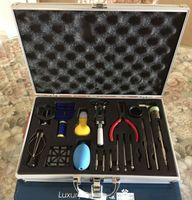 neue werkzeuge reparatur-kit großhandel-Uhrmacher-Uhrreparatur-Werkzeugsatz Riemengliedentfernungssatz Uhrmacher-Werkzeugsatz Neu Zurück Gehäuseöffner-Entferner Federstiftleiste