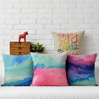 Wholesale Handmade Things - 45cm Watercolor proud Enjoy the little thing Cotton Linen Fabric Waist Pillow 18inch Hot Sale New Home Decorative Sofa Car Back Cushion