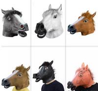 crianças arma de madeira venda por atacado-Novidade Jogos Cabeça Assustadora Máscara de Cavalo Traje de Halloween Teatro Prop Novidade Látex De Borracha Rápida frete grátis