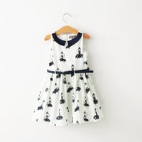 Wholesale Doll Dress Elegant - Girls Hepburn print elegant dress Kids summer autumn sleeveless sundress Girl Doll Collar kids menina princess dresses for 2-6T