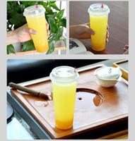 Wholesale Disposable Plastic Tea Cups - 700ml 24oz Disposable Plastic Cups with lid hot drinks Juice Coffee Milky Tea Cups Transparent Thicken Drink Cup cold drinks 100pcs