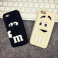 Wholesale Cheap I Phone - Cheap For I phone6 Case 3D Cartoon Cute Girl and Boy M&M's Chocolate Candy Color Rainbow Bean Soft Silicone Case Cover For many phones