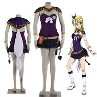 Wholesale Cosplay Whips - 2016 NEW Arrival High-quality Costume Fairy Tail Lucy Heartfilia Cosplay Costume Purple Dress with Whip Halloween
