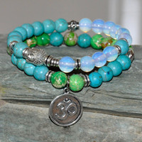 Wholesale Turquoise Bead Buddha Bracelet - SN0182 Set of 2 Buddha Bracelet Green Jasper Turquoise Opalite tibetan bracelet mala beads OM yoga bracelet for men and women