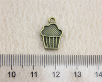Wholesale Wholesale Cupcake Charm - 60Pcs 15*10mm Antique Bronze Color cupcake Charms Zinc Alloy DIY Handmade Jewelry Pendants Wholesale