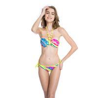 top bandeau amarillo al por mayor-Trajes de Baño Para Mujeres Bikinis Ladies Palm Print 1/2 Cup Bandeau Top Bikini Conjunto Neon Yellow Ties En El Cuello Y La Perla Decos Inside Swim Suits