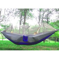 Multi-color Portable Hammock 250 x 130cm Single-person Mosquito Net Hammock Hanging Bed Outdoor Swing para viagens Camping Outdoor Furniture