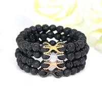 Wholesale 8mm cz bracelet online - 8mm Fashion Friendship Strand Lava Stone Beads Bracelets High Quality Vintage Diy Cz Beads Octopus Charm Men S Bracelets Bangles