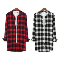 Wholesale Korean Casual Shirts For Men - Wholesale-2016 New Design Black Red Flannel Plaid Shirt Extended Hip Hop Streetwear Korean Urban Fashion Extra Long Shirts For Men