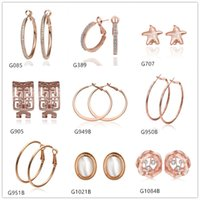 Wholesale Hollow Rose Crystal Earrings - Brand new 10 pairs mixed style women's round Sculpture hollow crystal gemstone 18k rose gold earring GTG79,rose gold Circles earrings