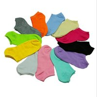 Wholesale Women Solid Color Crew Socks - Wholesale-Drop Shipping Candy Color Women Short Ankle Boat Low Cut Dress Sport Socks Crew Casual Cotton Blend Sock