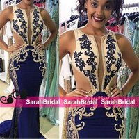 Wholesale Embroidered Dresses For Women - Hot Brillant Mermaid South African Evening Gowns Beads Embroidered Miss Pageant Arabic Celebrity Prom Dresses for 2016 Women Party Wear Sale