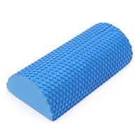 ingrosso rullo di massaggio di schiuma di yoga-50 PZ 30 cm Mezza Rotonda schiuma EVA rullo di Yoga Pilates Rullo di Schiuma Fitness Gym Esercizio Blocchi di Yoga Fitness Con Massaggio Punto Galleggiante