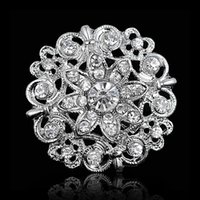 Wholesale vintage floral brooch - Popular Vintage Silver Rhodium Plated Clear Crystals Small Floral Lady Wedding Brooch Hot Selling Women Costume Pins Brooches