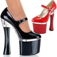 Wholesale Heels Shoes Buckle Platform Pumps - Customize Leather Pump Extreme High Heel 18cm Platform Women Shoes Sexy Fetish High Heels Patent Sex Pump With Buckle D0180