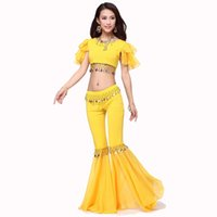 Wholesale Dance Costumes Free Shipping - Hot Selling Women Belly Dance Costume Set Tops&Turkish Harem 4colors Belly Dancing Women Free Shipping Indian Dress Clothing Set