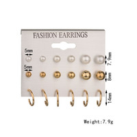 Wholesale Cheap Wholesale Pearl Earrings - Mixe 9pairs lot Fashion 18K Gold 925 silver Plated pearl stud earrings Dangle & Chandelier U-shaped earrings Ear jewelry High quality cheap