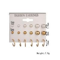 Wholesale U Shaped Steel - Mixe 9pairs lot Fashion 18K Gold 925 silver Plated pearl stud earrings Dangle & Chandelier U-shaped earrings Ear jewelry High quality cheap