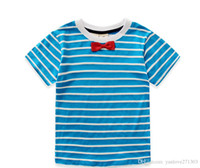 Wholesale Cheap Organic Clothing - Stripes boy short-sleeved summer 2016 new pretty bows cheap baby clothes 2-7 years cotton round neck child T-shirt 10pcs A20