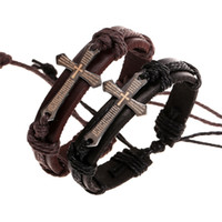 Wholesale Leather Braided Bracelet Bangle Cross - Men Braided Leather Cuff Bracelets Vintage Style Bangles With Cross Charm Wholesale Business