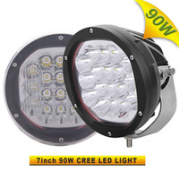 Wholesale Heavy Truck Led - 2PCS 7 INCH 5W X 18PCS CREE 90W LED Driving Light For Off Road Truck Tractor Heavy Duty 4X4 Working Headlight 4WD