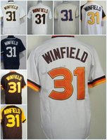 Compra Dave Winfield Jersey Xl-2018 Flexbase # 31 Dave Winfield Home Away Jersey Blu Bianco Grigio marrone Camo Pullover Cool Base cucita