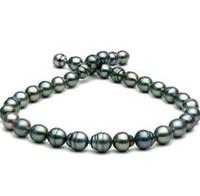 tahitianische barockperlen großhandel-11-12mm Tahitian Pfau grün barocke Perlenkette 18 Zoll 14 Karat Gold Verschluss