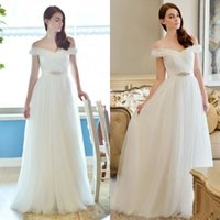 Wholesale Inexpensive Bridal Sashes - 2016 Cheap Beach Wedding Dresses Off the Shoulder Ruched Tulle Floor Length Long Formal Plus Size Inexpensive Bridal Gowns with Beaded Sash
