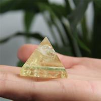 Wholesale citrine crystals resale online - HJT g Natural citrine crystal pyramid nunatak Reiki Healing yellow crystal quartz pyramid decoration mm mm