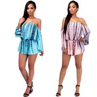 Wholesale Sexy Elastic Jumpsuits - Women's Sexy Club Bandage Dress Off Shoulder Elastic Waist Playsuit Romper Jumpsuit Short Pants Contrast Color Bodysuit Jumpsuits