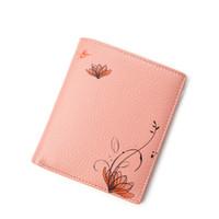 Wholesale Cute Pink Wallets - HMILY Women Wallet Follow Pattern Pocket Genuine Leather Ladies Purse Mini Card Holder Cute Ladies Money Bag Ultrathin Model