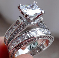 Wholesale princess cut three stone ring resale online - real fine Luxury Jewelry Princess cut mm White gold Simulated Diamond Wedding Engagement Party Women Rings