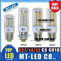 Wholesale E12 Led 12w Corn - IN stock SMD 5730 E27 E14 G9 GU10 LED lamp 7W 12W 15W 18W 220V 110V 360 angle 5730 Ultra Bright LED Corn Bulb light Chandelier lamps