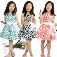 Wholesale Kids Sun Dresses - PrettyBaby 2016 summer 3colors girls dress sleeveless floral sun flower printed colorful 100%cotton kids clothing free shipping