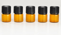 Wholesale 1ml Perfume Vials - Free Shipping 1ML Perfume Amber Mini Glass Bottle, 1CC Amber Sample Vial,Small Essential Oil Bottle Factory price N708
