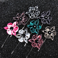 Wholesale Suit Wedding Star - 13color New fashion men brooch flower lapel pin 4cm suit boutonniere fabric yarn pin button Stick brooches pins for wedding gift