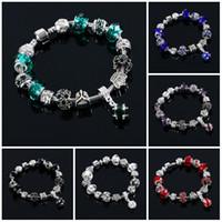european tibetan style beads achat en gros de-Charme Bracelet Style Européen Authentique Tibétain Argent Bleu Cristal Bracelets pour Femmes Original BRICOLAGE Bijoux De Noël Perle Bracelet