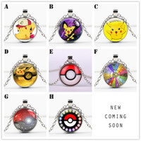 Wholesale Red Children Necklaces - 2016 New POKEMONGO Pendants Necklaces For Women & Men Cabochon Glass Cartoon Pikachu Print Necklace Fashion Jewelry Children Gift