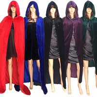 Wholesale Adult Princess Cape - S-XL Christmas Deluxe Hooded Cloak Adult Halloween Costumes Capes Velvet Fabric Dress Up Witch, Witch, Prince, Princess.