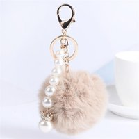 Wholesale crown keyrings - Fur Ball Fluffy Round Ball with Crown Pearl Strip Rose Gold Plated Metal Keychain Keyring Car Key Chains Handbag Charms Women's Girl's Gift
