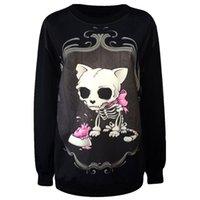 Wholesale Ladies Skull Jackets - Wholesale- New 2017 Ladies Fashion Clothes Hoodies.Animal Skull Dog Printed Punk Sweatshirt.Punk Style Casual Coat Woman Sexy Jacket Tops