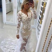 Wholesale natural overlay - Pearl Appliques Tulle Overlay Mermaid Evening Dresses Sheer Neck Long Sleeves Backless White Nude Modest Evening Gowns Prom Dresses