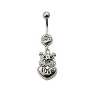 Wholesale Letter Belly Bars - Wholesalee Stainless Steel Crystal letter dangle Belly Button Navel Ring Body Piercing Jewelry Cute Bear Dangle Belly Piercing Bars