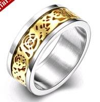 Wholesale Cheap Titanium Rings For Men - 2016 New Fashion Accessories 10pcs Wholesale Manufacturer Titanium steel Gold Jewelry Ring Cheap Charms Rings for Men Party Dresses up Free