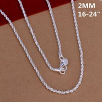 Wholesale Men 2mm Silver Chains - n226 Hot Wholesale fine 925 sterling silver 2mm 1pc shake chain necklace fashion jewelry,new hot piercing 925 silver necklace for women men