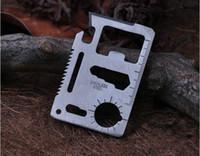 ücretsiz kredi kartı bıçağı toptan satış-DHL Ücretsiz Avcılık Kamp Survival Pocket Knife 11 1 Çok Araçları Kredi Kartı Bıçak Paslanmaz Çelik Açık Havada Dişli Survival Araçları
