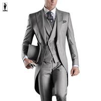Wholesale Slim Tailcoat - UR Long Silver Stylish Jacket Vest Pants Latest Designs Costume Homme Tuxedo Wedding Suits Groom Suits Prom Suits Slim Fit Blazer Men Suits